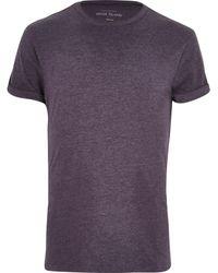 River Island Dark Purple Crew Neck T-shirt - Lyst