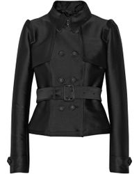 Burberry Prorsum Belted Satintwill Jacket - Lyst