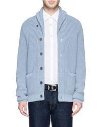Hardy Amies Shawl Collar Cotton Cardigan - Lyst