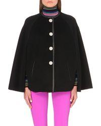 Emilio Pucci - Leather-trim Wool And Angora-blend Cape - Lyst