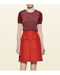 Gucci Patchwork Knit Short Sleeve Top - Lyst