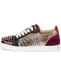 Christian Louboutin | Spiked Mixedmedia Sneaker | Lyst