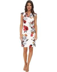 Adrianna Papell Pleated Side Wrap Dress - Lyst