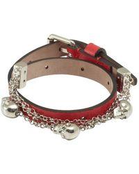 Alexander McQueen Red Leather Double Wrap Skull Bracelet - Lyst