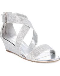 Rampage Karveta Glitter Wedge Sandals silver - Lyst