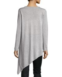Eileen Fisher Long-sleeve Asymmetric Sheer-hem Tunic - Lyst