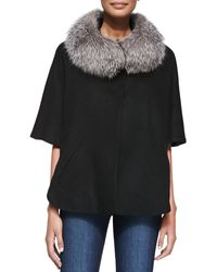 Sofia Cashmere Fur-trim Cape black - Lyst