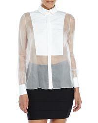 Jason Wu White Silk Organza Tuxedo Shirt - Lyst