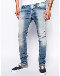 Diesel Jeans Sleenker 830J Stretch Skinny Fit Bleach Repair - Lyst