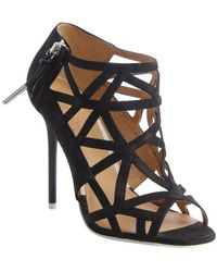 L.a.m.b. Black Leather Flower Strappy Caged Peep Toe Sandals - Lyst