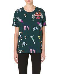 Mary Katrantzou Digital Print Jersey Tshirt Green - Lyst