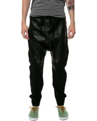 Gag Threads Black Cotton  Leather Detail Drop Crotch Joggers  Back and Stash Pocket - Lyst