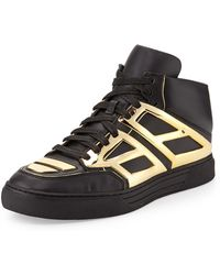 Alejandro Ingelmo Leather High-Top Sneaker gold - Lyst