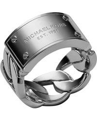 Michael Kors Curbchain Logo Ring - Lyst