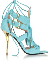 Patrizia Pepe - Wave Green Suede and Leather Fringe High Heel Sandal - Lyst