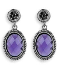 Platadepalo - Silver Earrings With Purple Crystal - Lyst