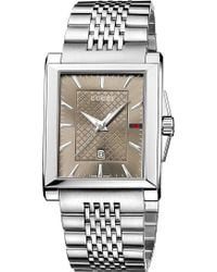 Gucci G-timeless Rectangle Quartz Stainless Steel Watch - Lyst