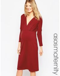 Asos Maternity | Petite Jersey Crepe Plunge Midi Dress | Lyst
