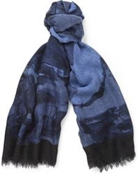 Gucci Printed Slubbed Silk and Wool-blend Scarf - Lyst