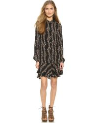 Free People Button Down Shirtdress - Black Combo - Lyst