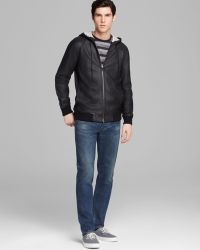 Marc By Marc Jacobs Leather Zip Hoodie Jacket - Lyst