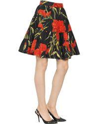 Dolce & Gabbana Floral Print Stretch Cotton Poplin Skirt - Lyst