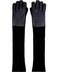 Christopher Kane Grey Python and Cashmere Long Gloves - Lyst