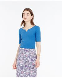 Ann Taylor Split Neck Cotton Tee blue - Lyst