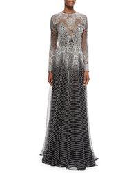 Naeem Khan - Long-Sleeve Metallic Wave Gown - Lyst
