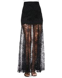 DKNY Mini Skirt With Long Lace Overlay - Lyst