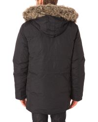 Schott Nyc Yett Feather Navy Blue Fur Collar Parka - Lyst