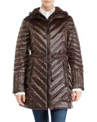 Laundry By Shelli Segal Hooded Packable Down Jacket - Lyst