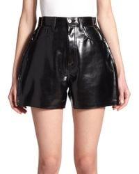Junya Watanabe Patent Faux-Leather Shorts black - Lyst