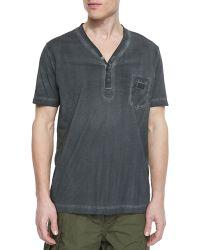 Diesel Pigment Dyed Short-Sleeved Henley T-Shirt - Lyst