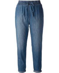 Current/Elliott Blue Drawstring Jeans - Lyst