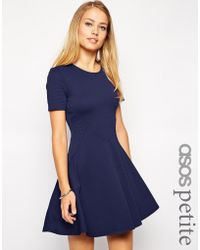 Asos Skater Dress With Textured Seam Detail And Short Sleeves - Lyst
