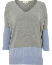 Linea Weekend Vneck Colour Block Jumper - Lyst
