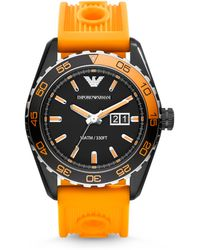 Emporio Armani Round Stainless Steel Watch - Lyst