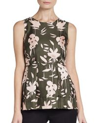 Marni Floral-print Silk Peplum Top - Lyst