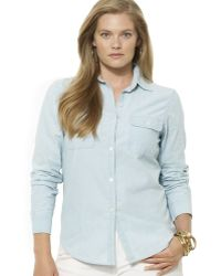 Ralph Lauren Lauren Plus Chambray Button Front Shirt - Lyst