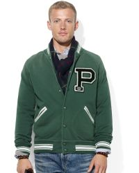 Ralph Lauren Polo Fleece Football Jacket - Lyst