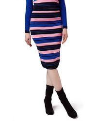 Topshop | 'hyper Color' Stripe Midi Skirt | Lyst