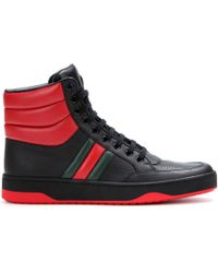 Gucci Leather High-top Sneakers - Lyst