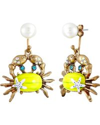 Betsey Johnson Into The Blue Crab Pearl Drop Earrings yellow - Lyst