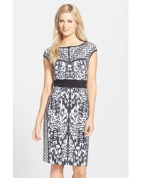Laundry by Shelli Segal Placed Print Ponte Sheath Dress - Lyst
