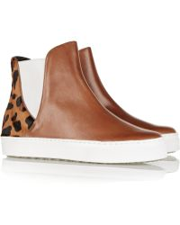 Schutz Kamyla Leather And Calf Hair Sneakers - Lyst