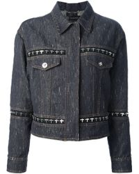 Versace Oversized Hooks Denim Jacket - Lyst