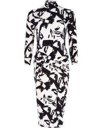 River Island Black Graphic Print Twist Front Bodycon Dress - Lyst