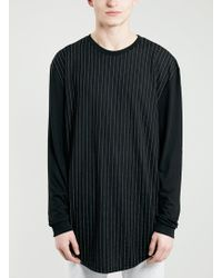 Topman Black Vertical Stripe Long Sleeve T-shirt - Lyst