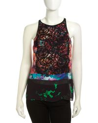 Nicole Miller Mixed Floral Print Lace Embellished Blouse - Lyst